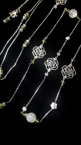 Rose Quartz & Peridot Silver Rose Necklace - Leila Haikonen Jewellery