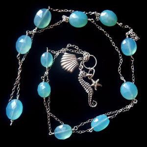 Seahorse Blue Chalcedony, Silver Chain Charm Necklace - Leila Haikonen Jewellery