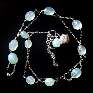 Blue Chalcedony Seahorse Charm Necklace - Leila Haikonen Jewellery