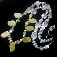 Serpentine, Rose Quartz, Pearl & Silver Necklace - Leila Haikonen Jewellery
