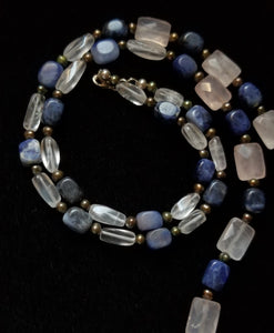 Rose Quartz Sodalite Silver Necklace - Leila Haikonen Jewellery