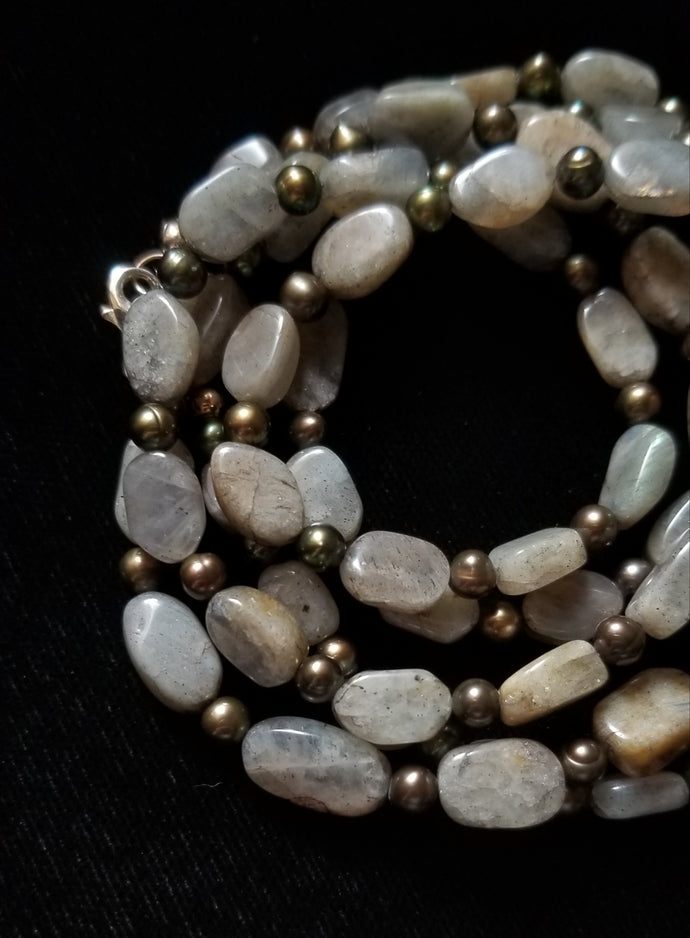Labradorite Mixed Pearl Necklace - Leila Haikonen Jewellery