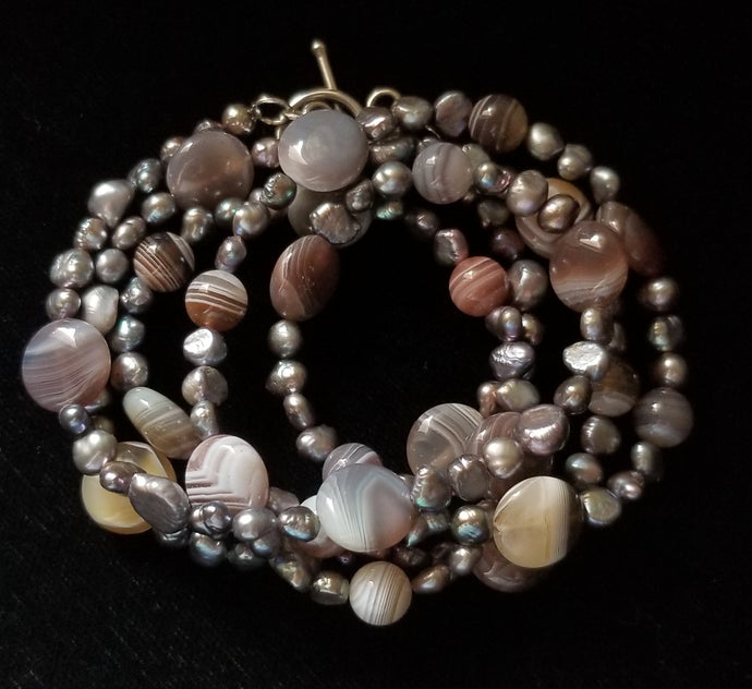 Botswana Agate Pearl Necklace - Leila Haikonen Jewellery