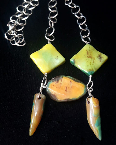 Tribal Yellow Green Agate, Silver Chain Necklace