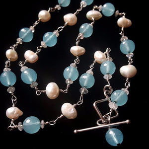 Blue Chalcedony, White Pearls, Sterling Silver Necklace