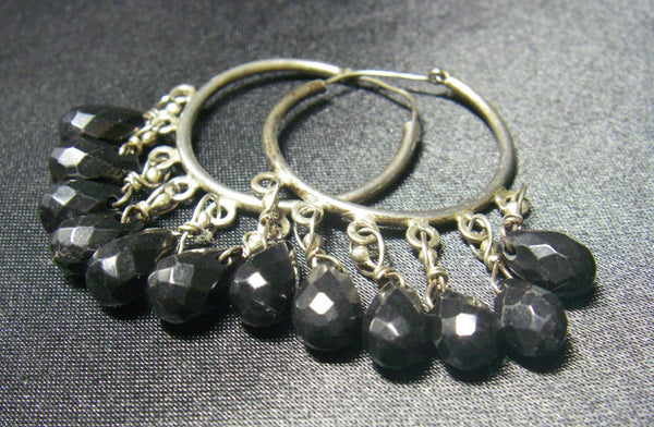 Black Chalcedony Onyx, Silver Hoop Earrings - Leila Haikonen Jewellery