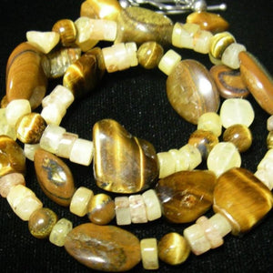 Tiger Eye, Honey Jade, Silver Necklace - Leila Haikonen Jewellery