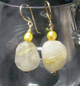 Rutilated Quartz, Yellow Pearl, Silver Earrings - Leila Haikonen Jewellery