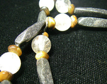 Black Gold Stone, Rutilated Quartz, Tiger Eye, Silver Necklace - Leila Haikonen Jewellery