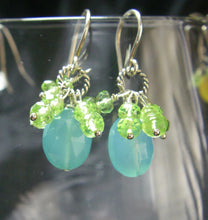 Aqua Chalcedony, Green Peridot Silver Earrings - Leila Haikonen Jewellery