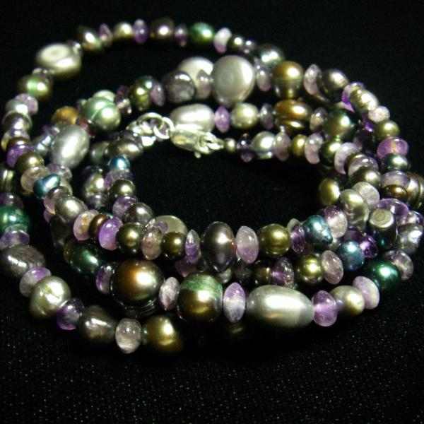 Amethyst, Black Pearl and Silver Necklace - Leila Haikonen Jewellery - 1