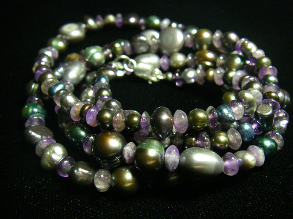 Amethyst, Black Pearl and Silver Necklace - Leila Haikonen Jewellery - 2