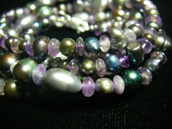 Amethyst, Black Pearl and Silver Necklace - Leila Haikonen Jewellery - 3