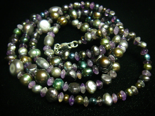 Amethyst, Black Pearl and Silver Necklace - Leila Haikonen Jewellery - 4