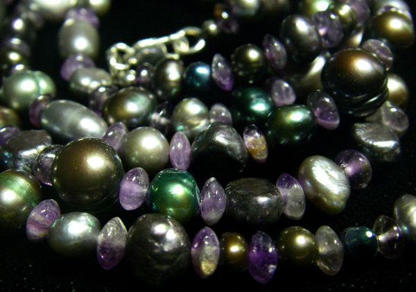 Amethyst, Black Pearl and Silver Necklace - Leila Haikonen Jewellery - 5