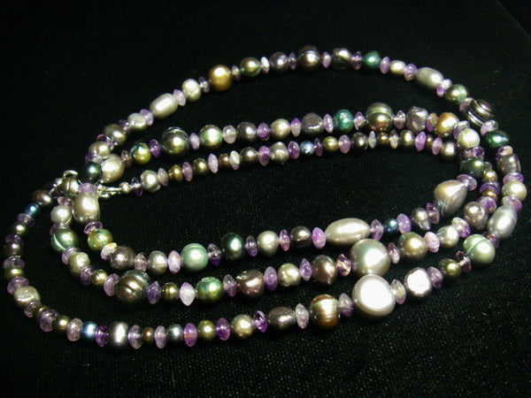 Amethyst, Black Pearl and Silver Necklace - Leila Haikonen Jewellery - 6