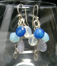 Blue, Lilac, Clear Chalcedony Drop Silver Earrings - Leila Haikonen Jewellery
