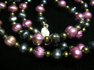 Purple, Blue and Black Pearls Silver Necklace - Leila Haikonen Jewellery