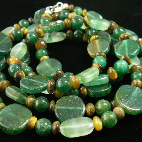 Long Green Aventurine, Tiger Eye Silver Necklace - Leila Haikonen Jewellery