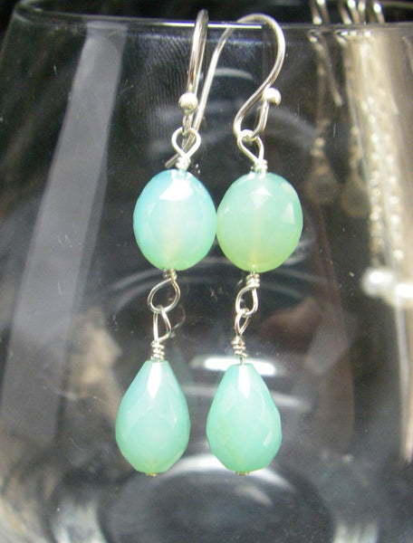 Aqua Chalcedony Drop Silver Earrings - Leila Haikonen Jewellery - 7