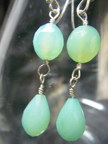 Aqua Chalcedony Drop Silver Earrings - Leila Haikonen Jewellery - 4