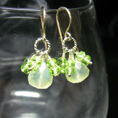 Green Chalcedony, Green Peridot Silver Earrings - Leila Haikonen Jewellery