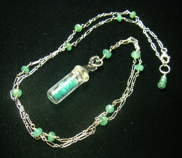 Emerald & Rough Emerald Silver Necklace - Leila Haikonen Jewellery - 4
