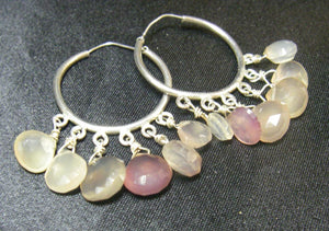 Beautiful Pink Chalcedony, Silver Hoop Earrings - Leila Haikonen Jewellery