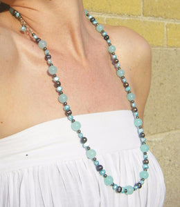 Aqua Blue Chalcedony, Black Pearls, Silver Necklace - Leila Haikonen Jewellery