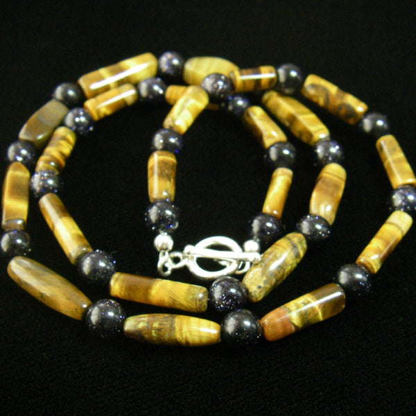 Tiger Eye & Black Gold Stone Silver Necklace - Leila Haikonen Jewellery - 2