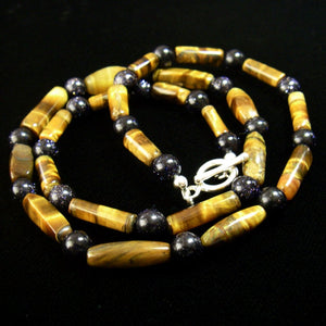 Tiger Eye & Black Gold Stone Silver Necklace - Leila Haikonen Jewellery - 1