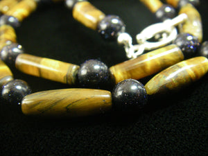Tiger Eye & Black Gold Stone Silver Necklace - Leila Haikonen Jewellery