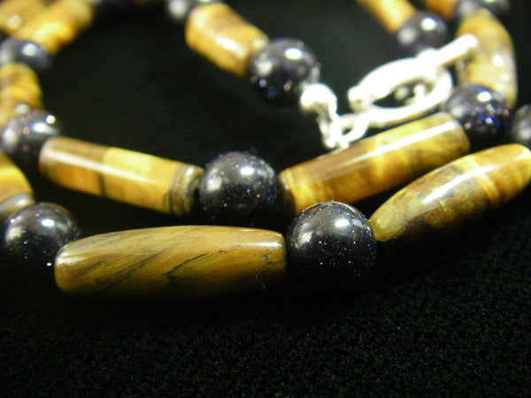 Tiger Eye & Black Gold Stone Silver Necklace - Leila Haikonen Jewellery - 6