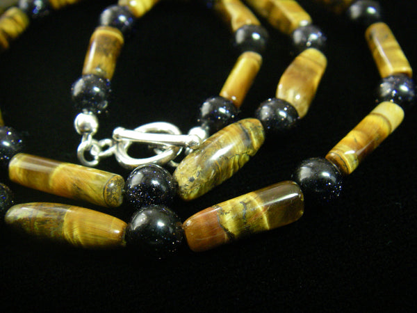 Tiger Eye & Black Gold Stone Silver Necklace - Leila Haikonen Jewellery - 4