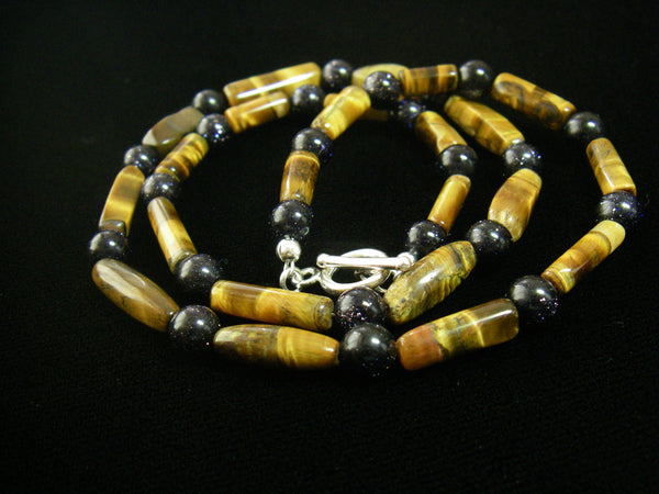 Tiger Eye & Black Gold Stone Silver Necklace - Leila Haikonen Jewellery - 5