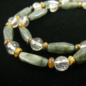 Grey Agate, Rutilated Quartz, Tiger Eye, Silver Necklace - Leila Haikonen Jewellery