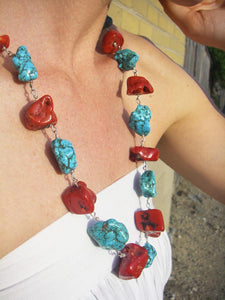 Huge Graduated Red Coral, Blue Turquoise, Silver Necklace - Leila Haikonen Jewellery
