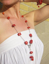 Red Coral Silver Chain Tassel Necklace - Leila Haikonen Jewellery - 6