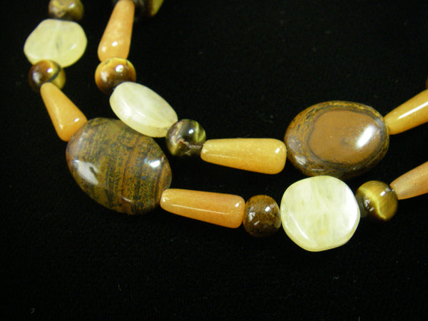 Chunky Tiger Eye, Honey Jade, Silver Necklace - Leila Haikonen Jewellery