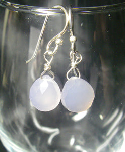 Lilac Chalcedony Silver Earrings - Leila Haikonen Jewellery