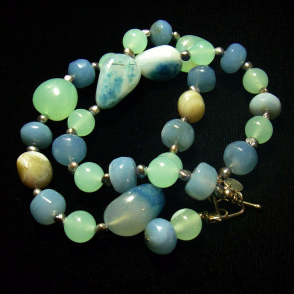 Sea Green, Blue Chalcedony, Black Pearl Silver Necklace - Leila Haikonen Jewellery