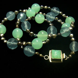 Sea Green, Blue Chalcedony, Silver Pearl Silver Necklace - Leila Haikonen Jewellery