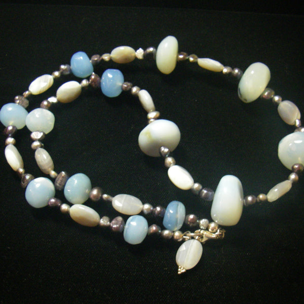 Chalcedony, Grey Agate, Black Pearls & Silver Necklace - Leila Haikonen Jewellery