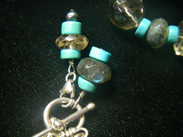 Turquoise Carving, Labradorite, Smoky Quartz, Sterling Silver Necklace - Leila Haikonen Jewellery