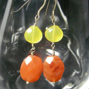 Yellow Chalcedony, Carnelian, Sterling Silver Earrings - Leila Haikonen Jewellery