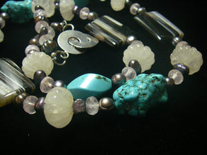 Rose Quartz, Banded Agate, Turquoise, Black Pearls, Silver Necklace - Leila Haikonen Jewellery