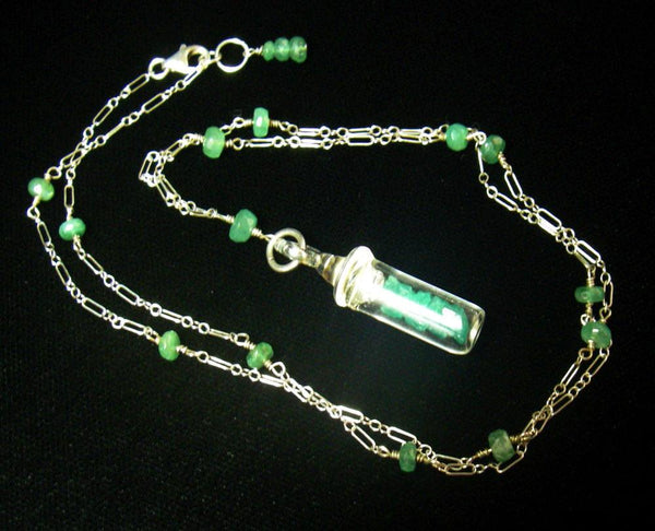 Emerald & Rough Emerald Silver Necklace - Leila Haikonen Jewellery - 2