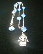 Blue Chalcedony, Sterling Silver Hamsa Necklace - Leila Haikonen Jewellery