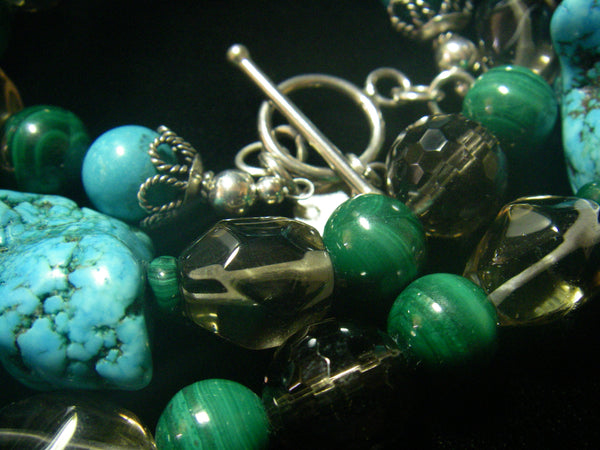 Turquoise, Malachite, Smokey Quartz, Silver Necklace - Leila Haikonen Jewellery