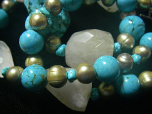 Blue Turquoise, Rutilated Quartz, Pearl, Silver Necklace - Leila Haikonen Jewellery